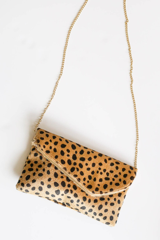 Leopard - Cheetah Print Envelope Clutch with a Gold Chain