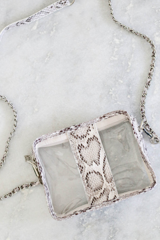 White - Snakeskin Clear Crossbody Flat Lay