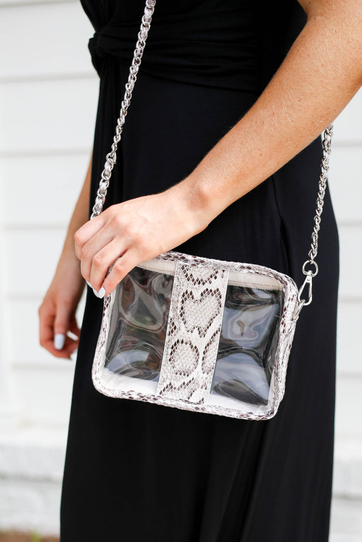 White - Model Holding Snakeskin Clear Gameday Bag