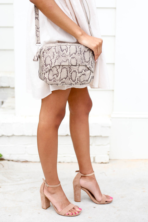 Taupe - Snakeskin Crossbody Purse