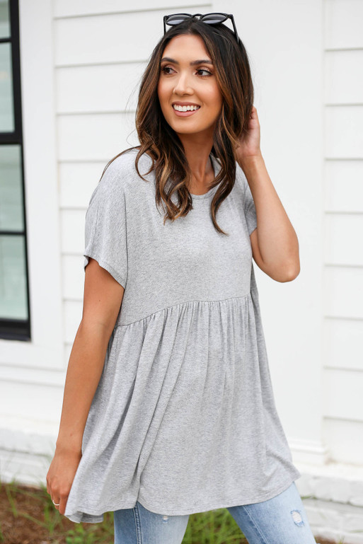 Heather Grey - Heathered Babydoll Tee Front View