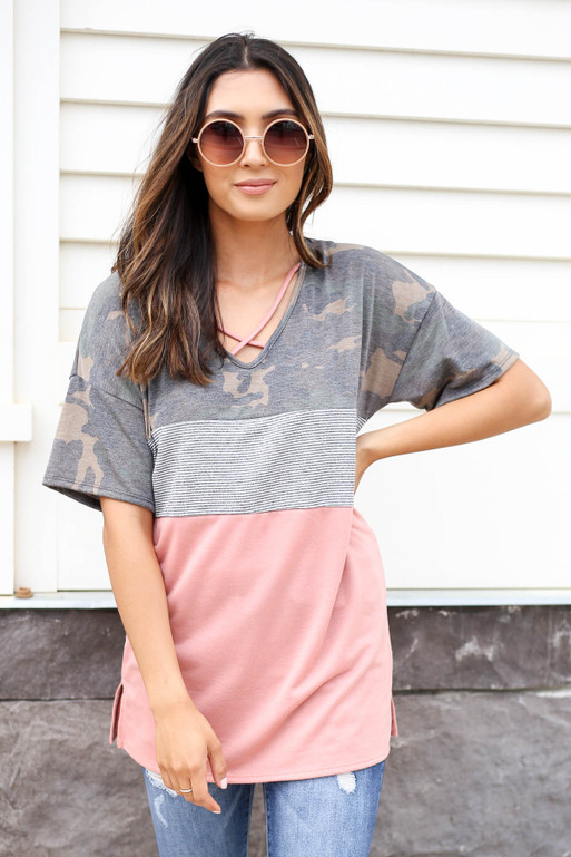 Peach - Camo and Striped Color Block Tee