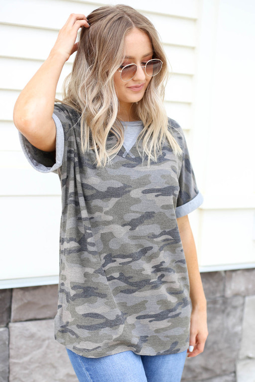 Olive - Camo Contrast Tee Side View
