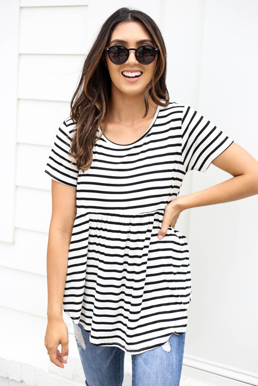 Ivory - Short Sleeve Striped Tee