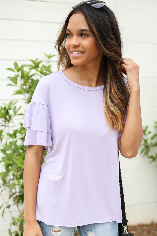 Purple - Ruffle Sleeve Top
