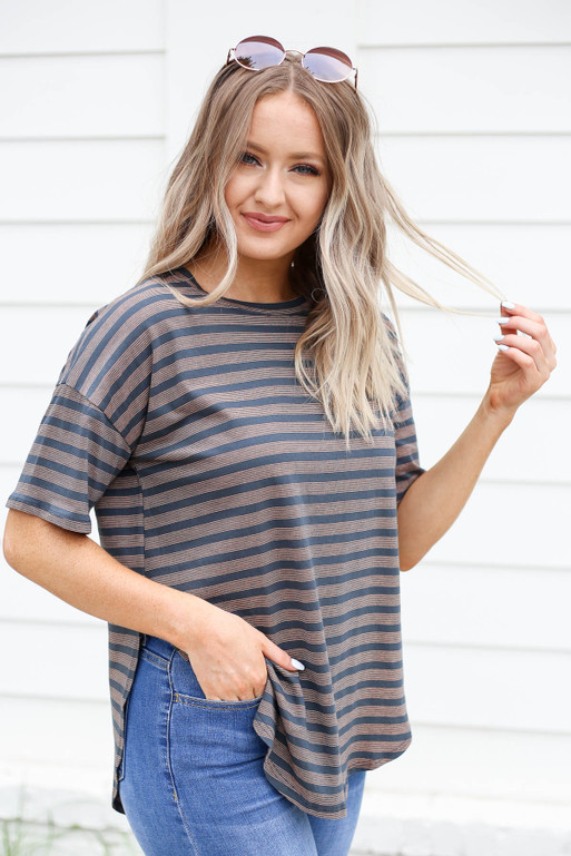 Charcoal - Striped Side-Slit Top