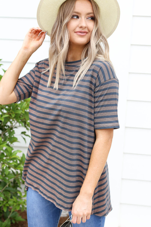 Charcoal - Striped Oversized High Neck Tee Side View