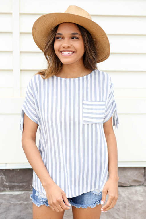 Navy - and white Striped Button Back Top