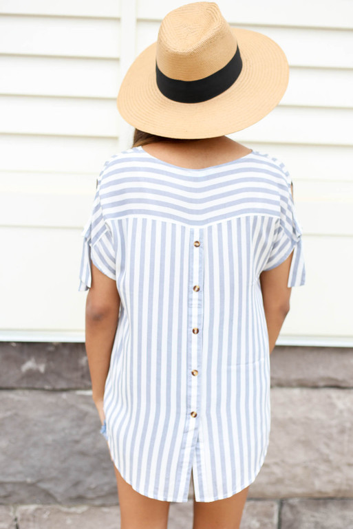 Navy - and white Striped Button Back Top Back View