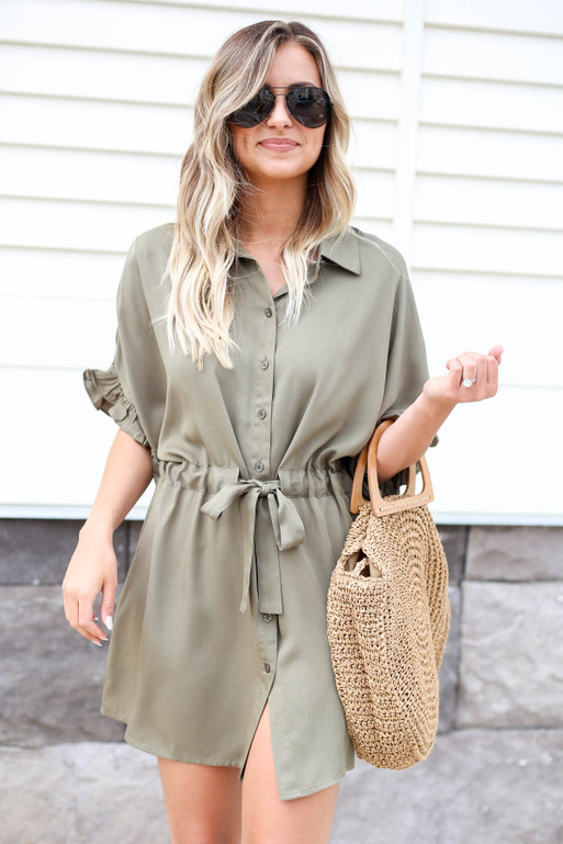 Olive - Drawstring Ruffle Sleeve Dress