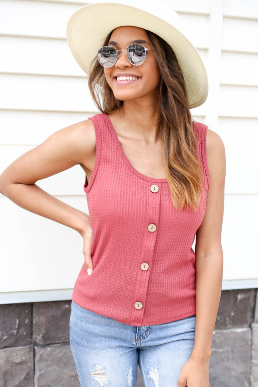 Marsala - Button Front Knit Tank