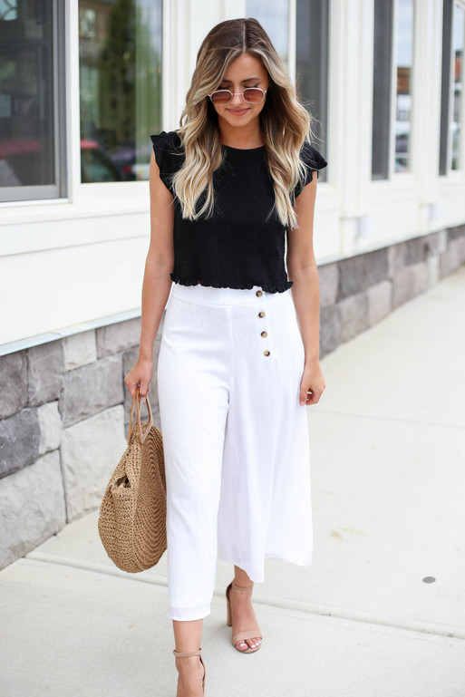 White - Button Front Cropped Pants