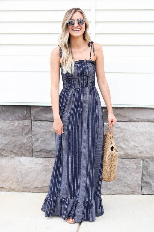 Navy - Smocked Striped Maxi Dress