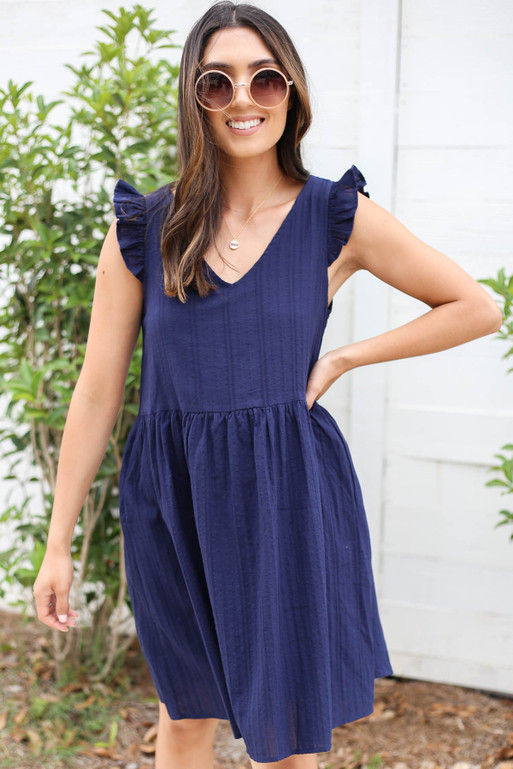 Navy - Ruffle Sleeve Babydoll Dress