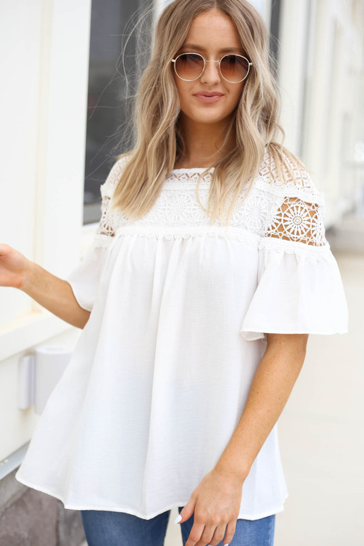 White - Ruffle Sleeve Crochet Blouse