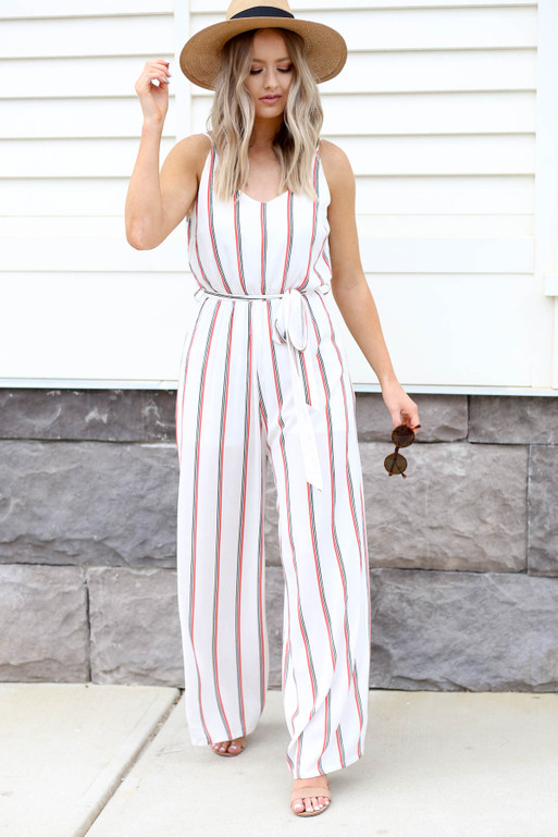 White - Jumpsuit with Red and Black Stripes