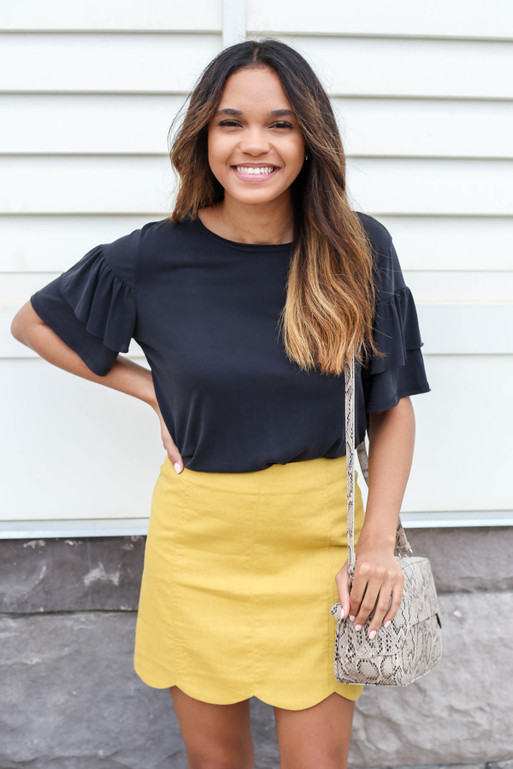 Mustard - Scalloped Mini Skirt