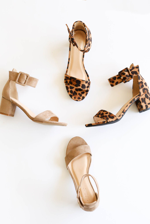 Taupe - and Leopard Print Ankle Strap Block Heels Flat Flay