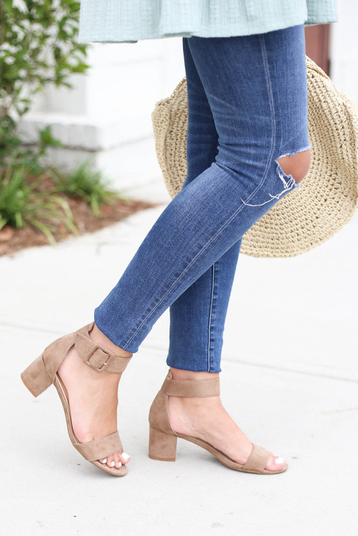 Taupe - Short Ankle Strap Block Heels on Model