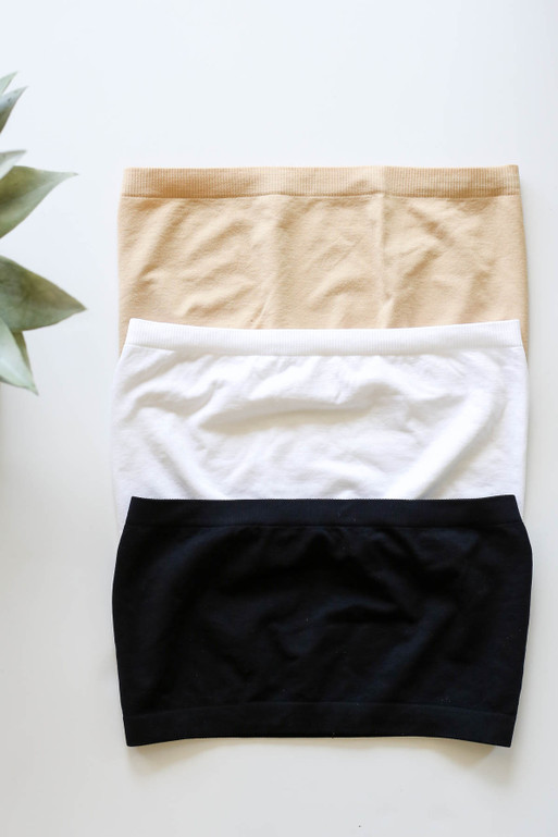 Black - White and Nude Strapless Basic Bandeau Flat Lay