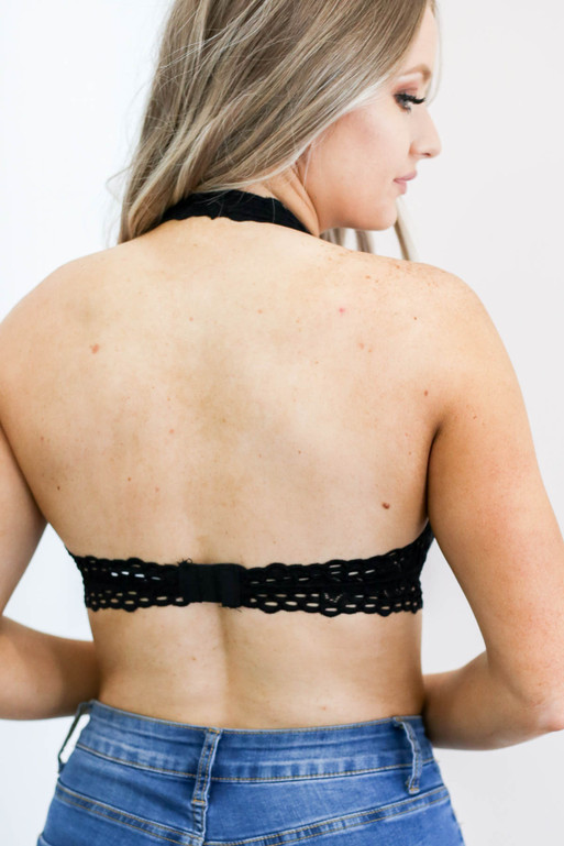 Black - Eyelet Halter Bralette Back View
