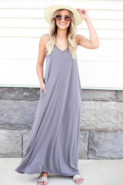 Grey - Sleeveless Maxi Dress Front View