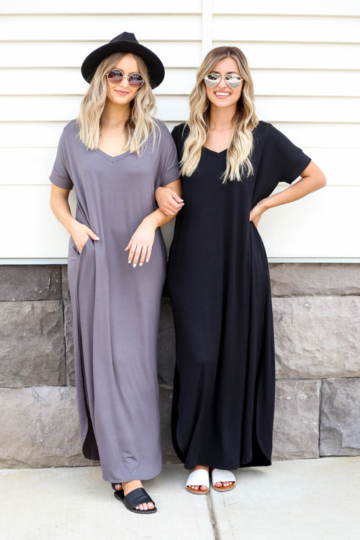 Grey - and Black V-Neck T-Shirt Maxi Dress