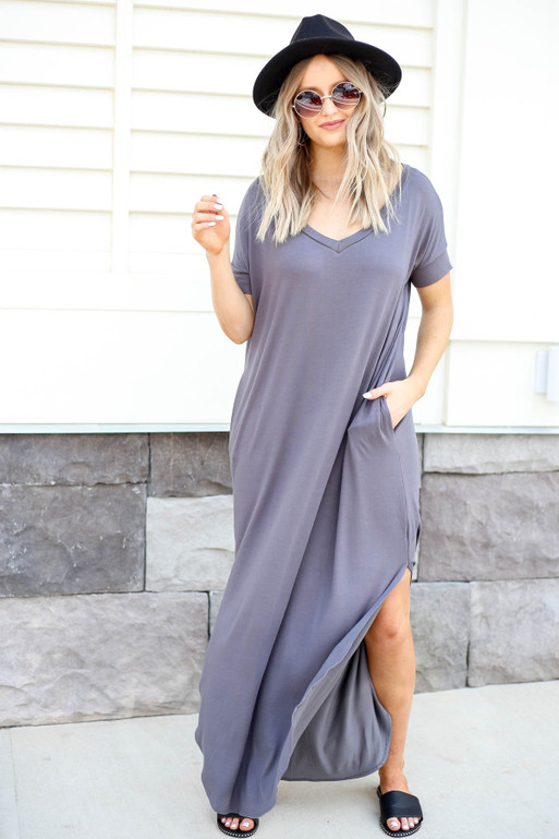 Grey - V-Neck T-Shirt Maxi Dress