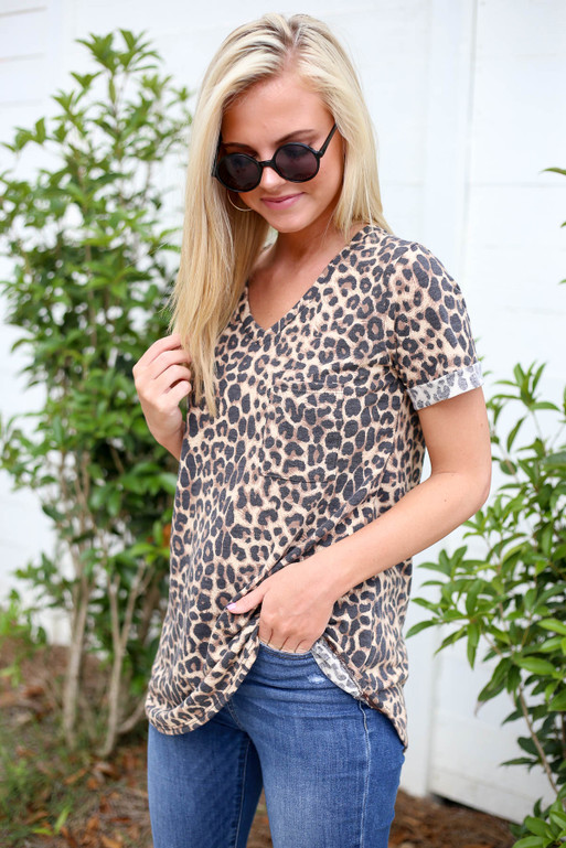 Model wearing Leopard Short Cuffed Sleeve Pocket Tee Side View