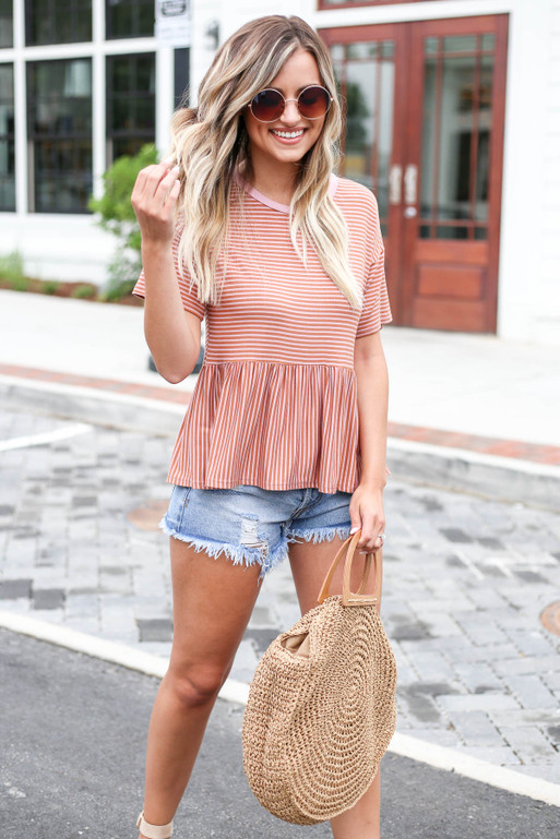 Mauve - Striped Peplum Tee