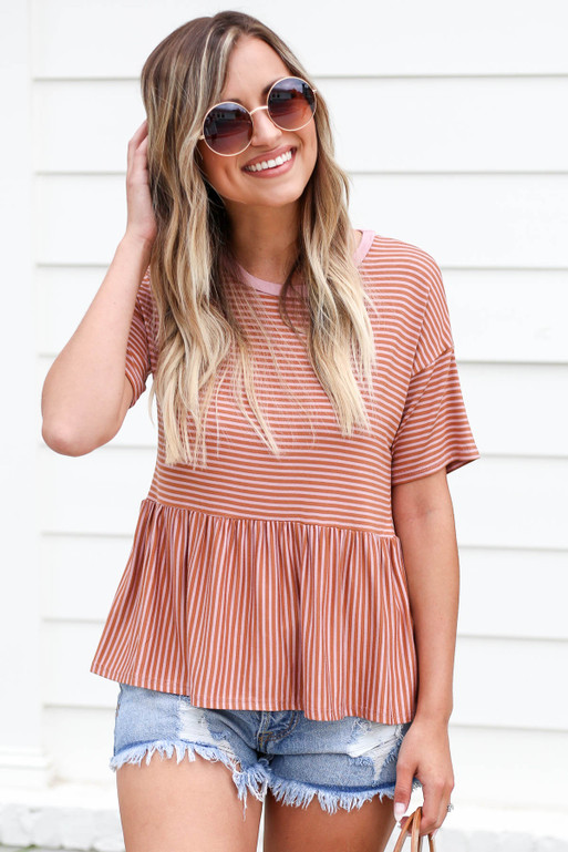 Mauve - Striped Peplum Tee Front View