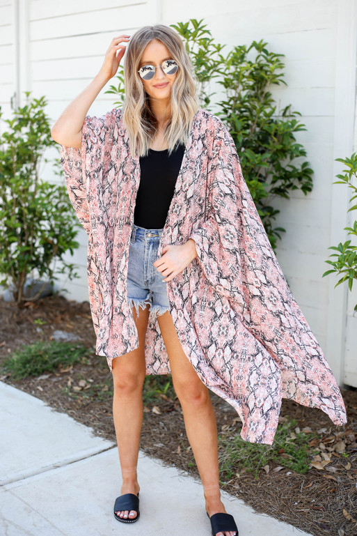 Black - Pink and White Oversized Snakeskin Kimono