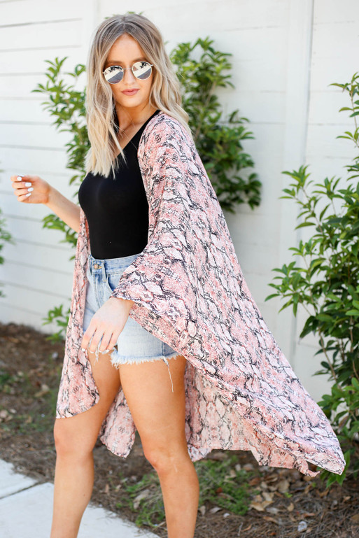 Black - Pink and White Oversized Snakeskin Kimono Side View