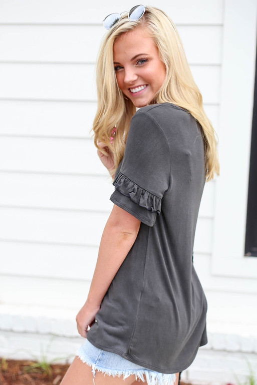 Charcoal - Ruffle Sleeve V-Neck Tee Side View