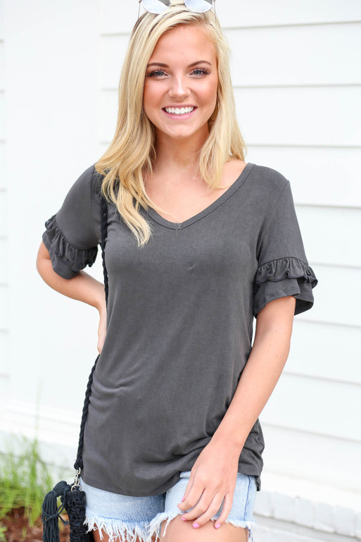 Charcoal - Ruffle Sleeve V-Neck Tee