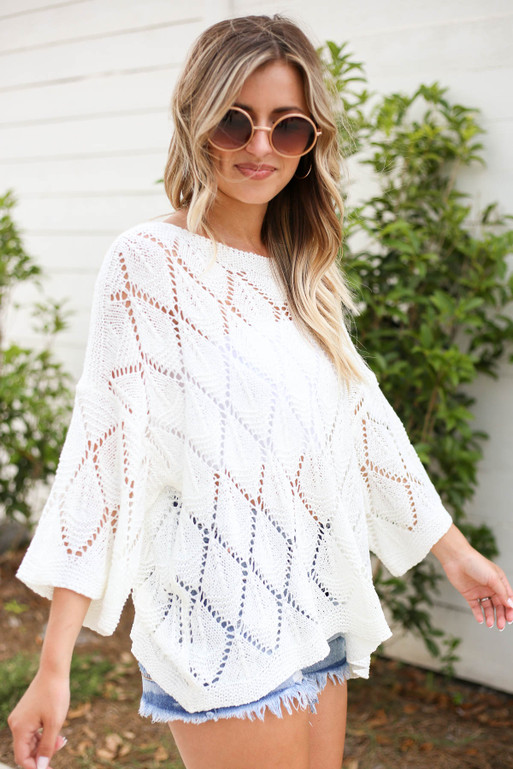 White - Eyelet Open Knit Sweater Side View