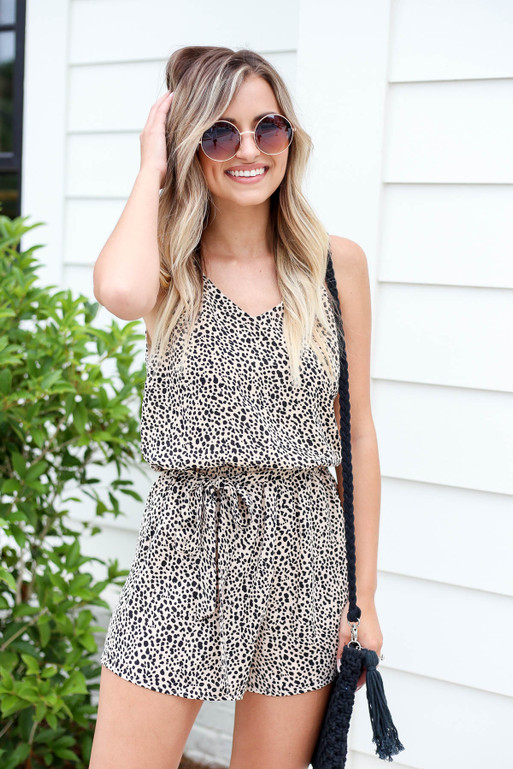 Taupe - Spotted Ruffle Romper
