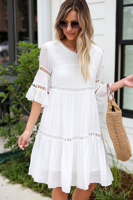 White - Crochet Tiered Dress