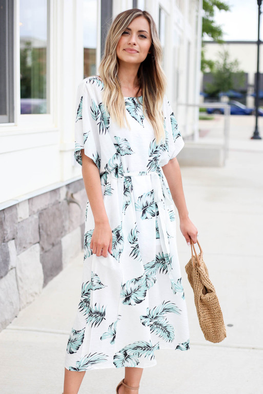 White - Palm Leaf Oversized Belted Midi Dress