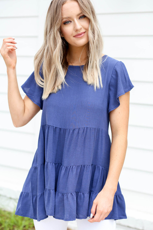 Navy - Tiered Ruffle Sleeve Blouse