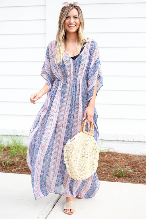 Blue - Boho Printed Cover Up Front View