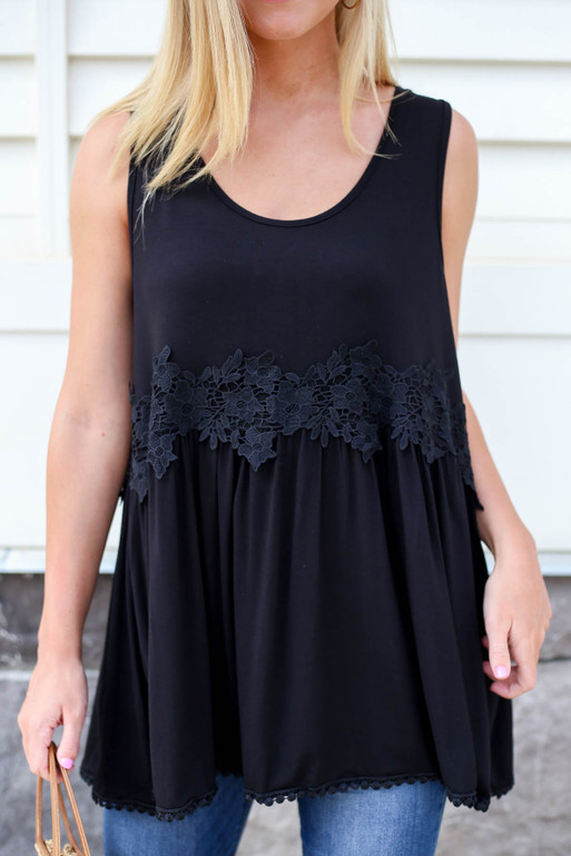 Black - Crochet Lace Tank Top Detail View