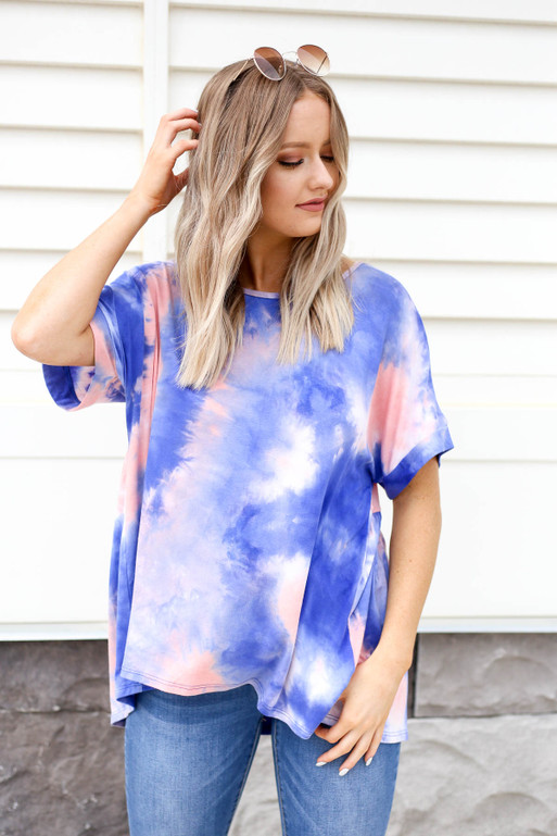 Multi - Tie-Dye Cross Back Tee