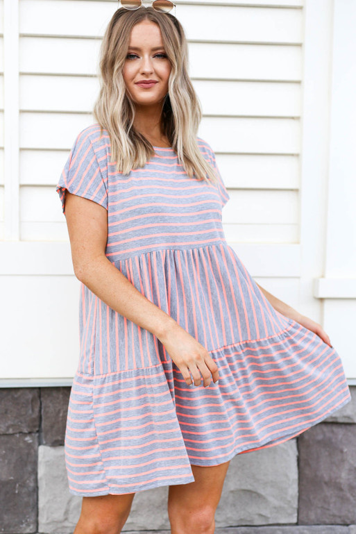 Grey - and Pink Striped Tiered Dress