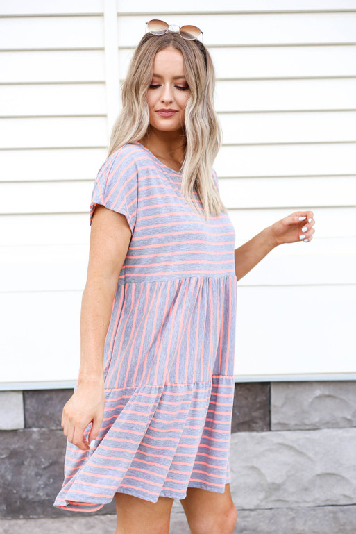 Grey - and Pink Striped Tiered Dress Side View