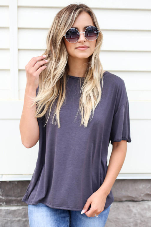 Black - Soft Knit Burnout Tee