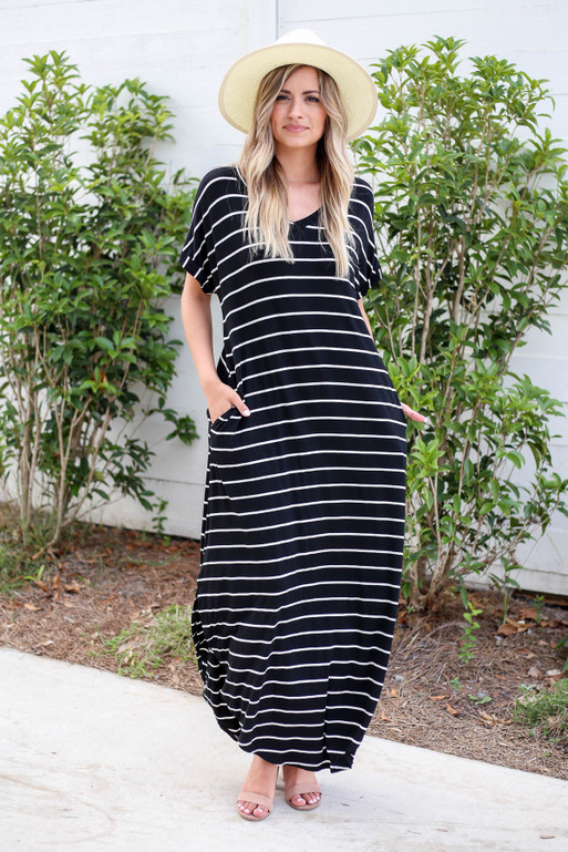 Black - and White Striped T-Shirt Maxi