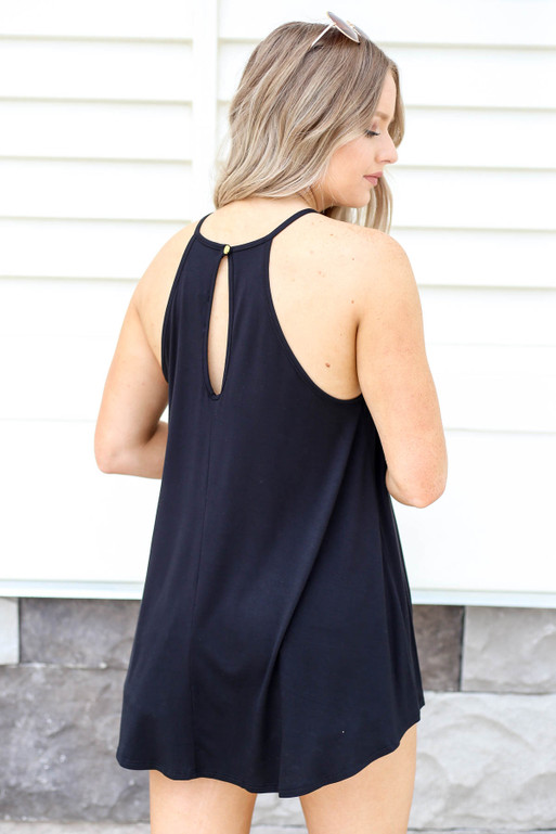 Black - Crochet Lace Tank Back View
