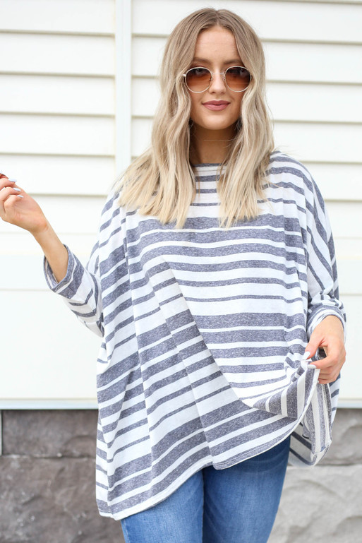 Navy - Oversized Striped Top