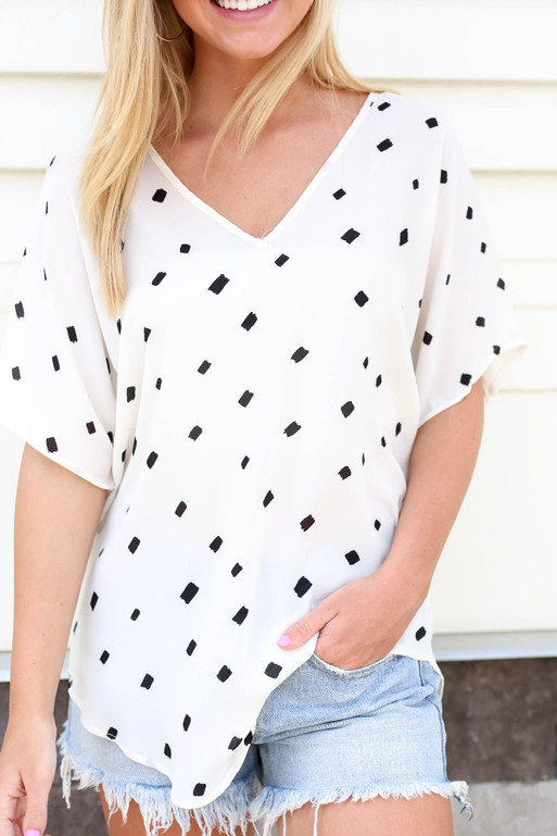 Ivory - Oversized Spotted Chiffon Blouse Detail View
